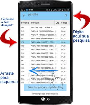 selecionando item dos produtos e servicos no aplicativo android para oficina mecânica