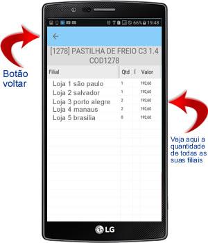 visualizando o estoque dos produtos e servicos nas filiais no aplicativo android para oficina mecânica