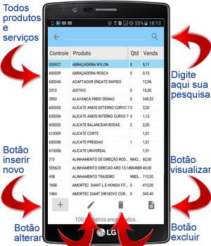 lista dos produtos e servicos no aplicativo android para oficina mecânica