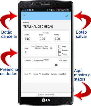dados dos produtos e servicos no aplicativo android para oficina mecânica