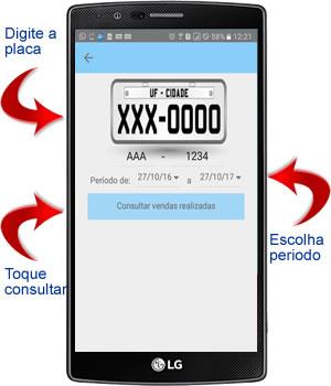 digitar a placa e o periodo no aplicativo android para oficina mecânica