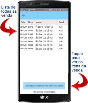 lista das vendas por placa no aplicativo android para oficina mecânica