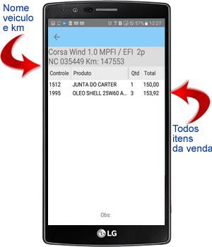 itens das vendas por placa no aplicativo android para oficina mecânica