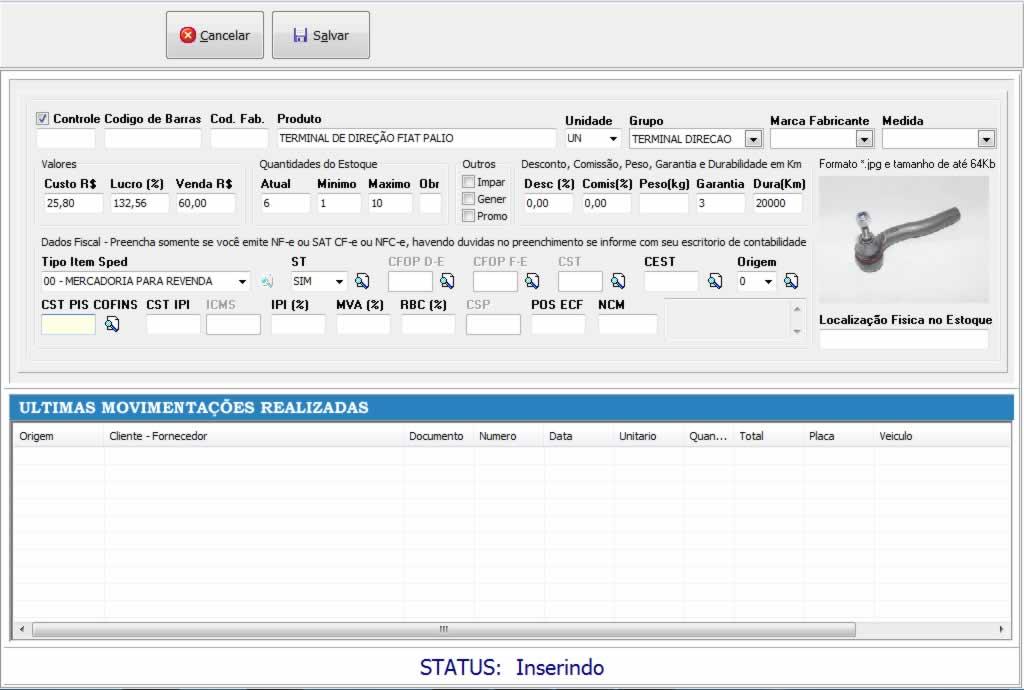 Cadastro de produtos e serviços no software para centro automotivo