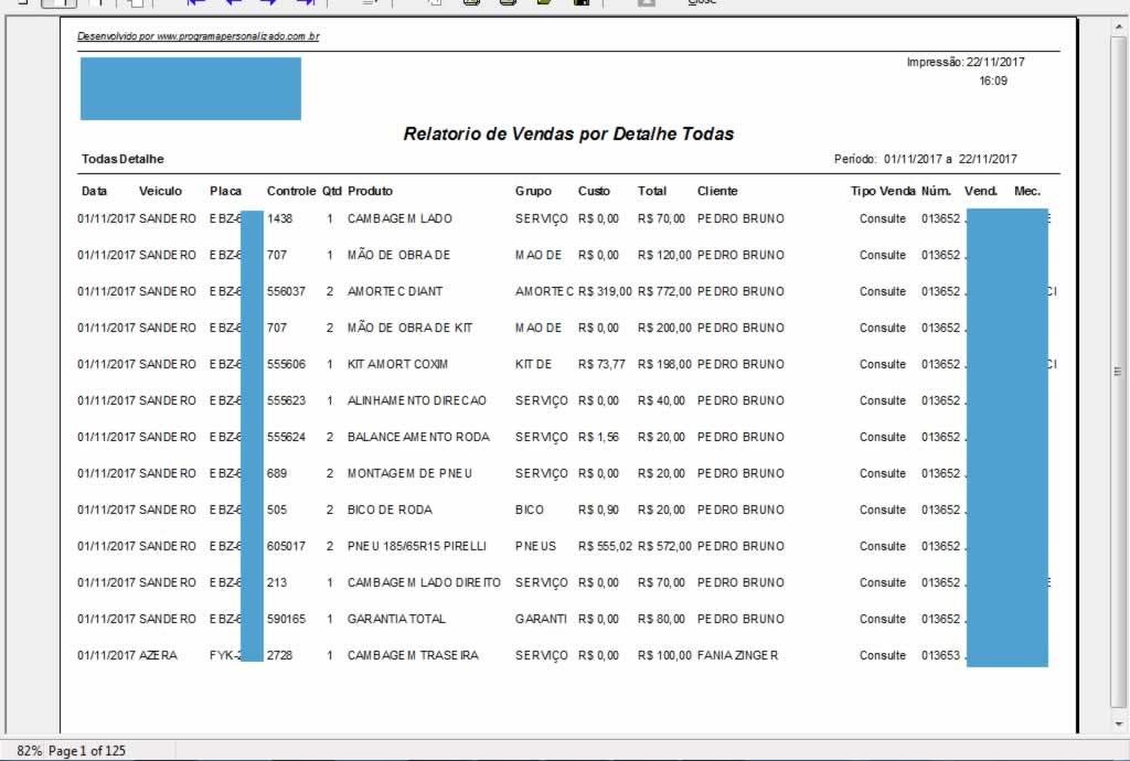 Relatorio de Vendas Detalhe Completo no software para centro automotivo