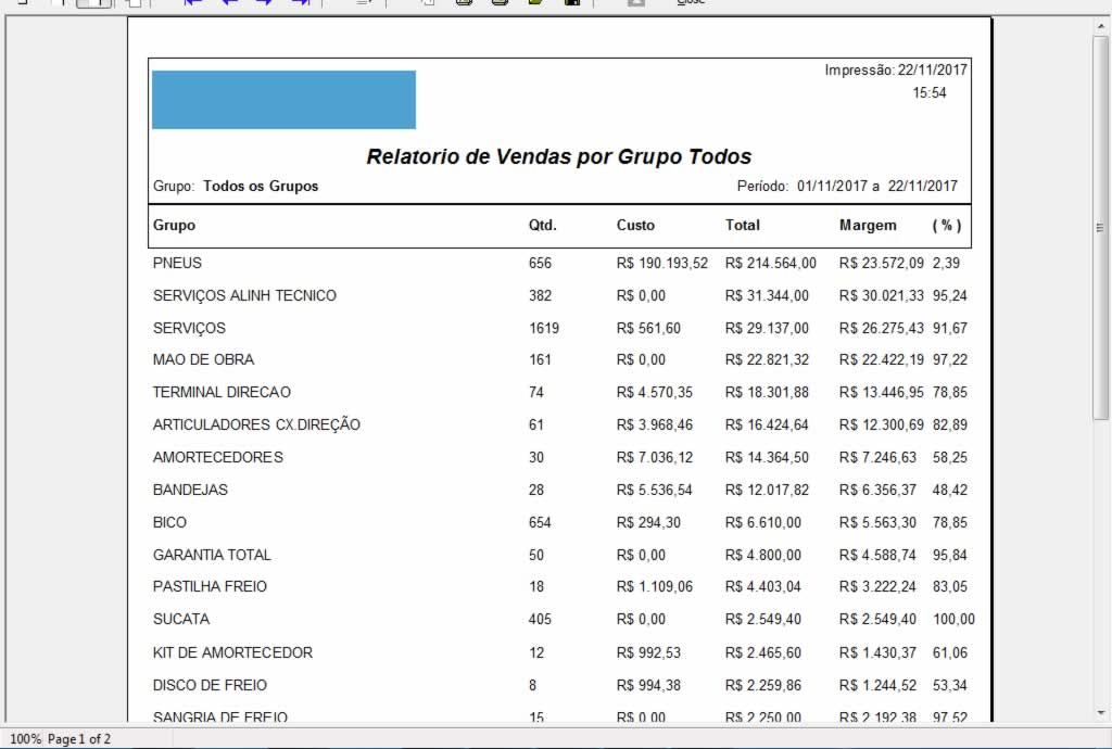Relatorio de Vendas por Grupo Todos no software para centro automotivo
