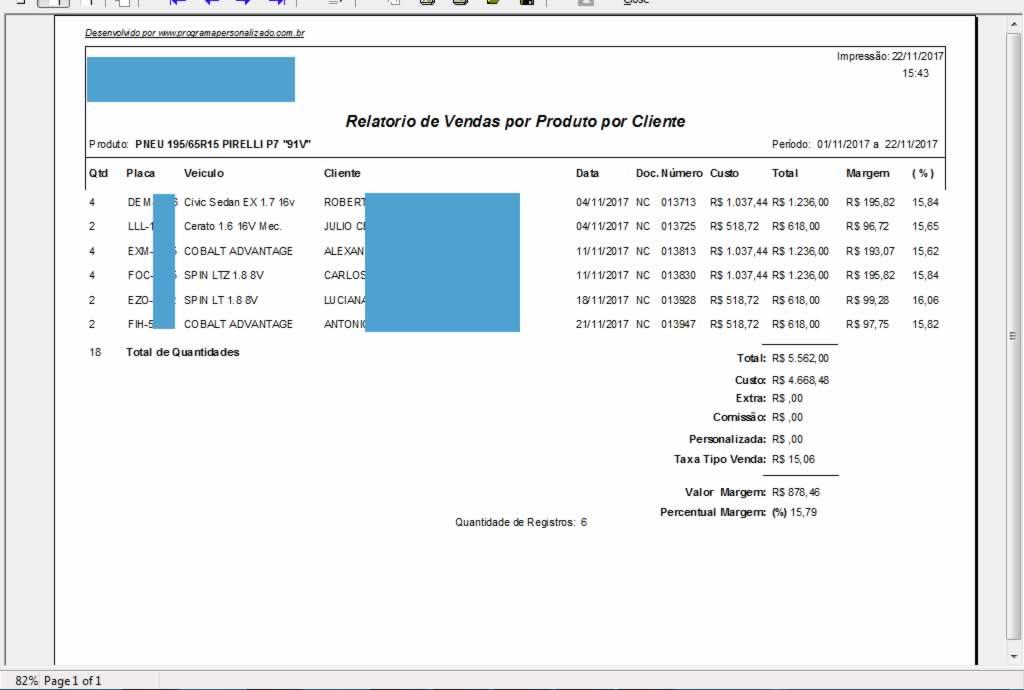 Relatorio de Vendas por Produto por Cliente no software para centro automotivo