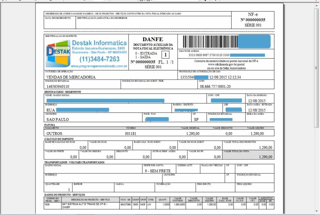 Emissão de Nota Fiscal Eletrônica no programa para oficina mecânica
