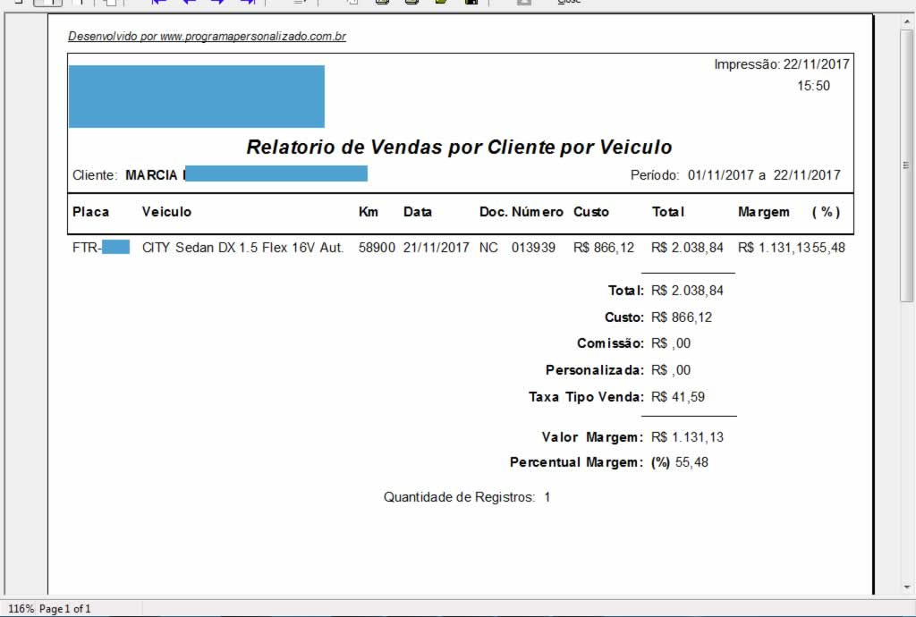 Relatório de Vendas por Cliente por Veiculo no programa para oficina mecânica