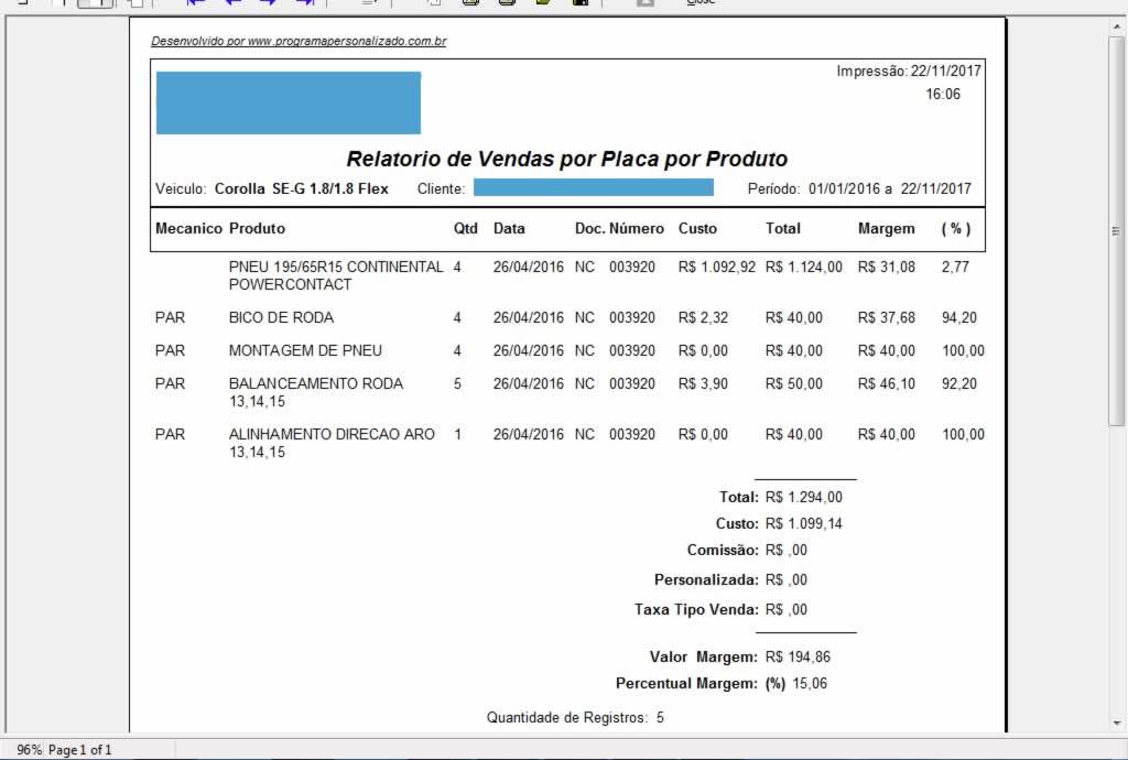 Relatório de Vendas por Placa por Produto no programa para oficina mecânica