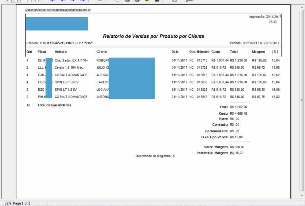 Relatório de Vendas por Produto por Cliente no programa para oficina mecânica