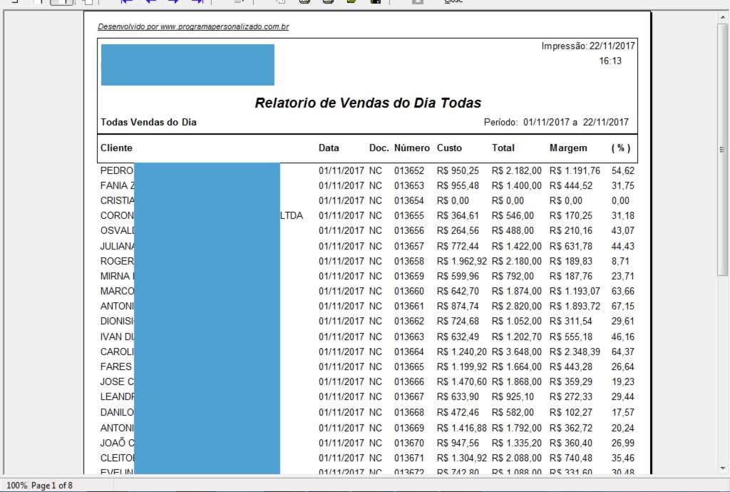 Relatório de Vendas Resumo Completa no programa para oficina mecânica