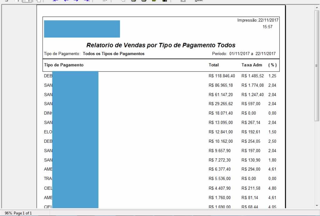 Relatório de Vendas por Tipo de Pagamento Todos no programa para oficina mecânica
