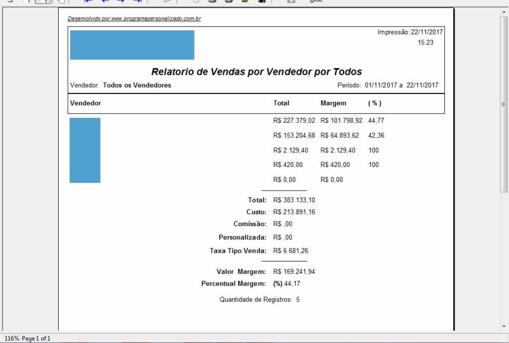 Relatório de Vendas por Vendedor Todos no programa para oficina mecânica